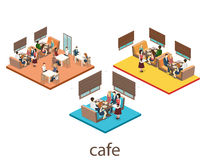 Isometrisk inre av coffee shop kafé eller restaurang för plan isometrisk design 3D inre Folket sitter på tabeller och äter royaltyfri illustrationer