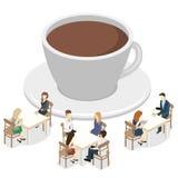 Isometrisk inre av coffee shop kafé eller restaurang för plan isometrisk design 3D inre Folket sitter på tabeller och äter stock illustrationer