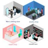 Isometrisk inre av diversehandeluppsättningen Arkivbild