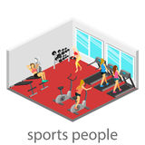 Isometrisk inre av idrottshallen Royaltyfri Foto
