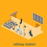 Isometrisk inre av järnvägsstationen Royaltyfri Bild