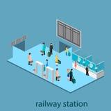 Isometrisk inre av järnvägsstationen Arkivfoton