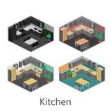 Isometrisk inre av kök Arkivfoto