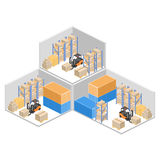 Isometrisk inre av lagret Askarna är på hyllorna Plan illustration 3d Arkivfoton