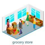 Isometrisk inre av livsmedelsbutiken Royaltyfri Fotografi