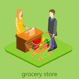 Isometrisk inre av livsmedelsbutiken Illustration för rengöringsduk för begrepp 3d för shoppinggalleria plan isometrisk Royaltyfria Bilder