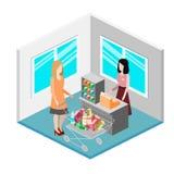 Isometrisk inre av livsmedelsbutiken Illustration för rengöringsduk för begrepp 3d för shoppinggalleria plan isometrisk Royaltyfria Foton