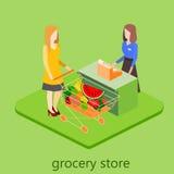 Isometrisk inre av livsmedelsbutiken Illustration för rengöringsduk för begrepp 3d för shoppinggalleria plan isometrisk Arkivfoto