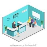 Isometrisk inre av mottagandet Plan verklig illustration 3D av väntande rum Royaltyfria Bilder