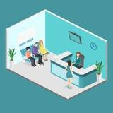 Isometrisk inre av mottagandet Plan verklig illustration 3D av väntande rum Royaltyfri Foto