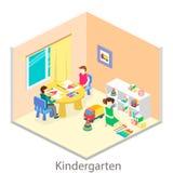 Isometrisk inre av rum i dagiset barn tecknar Arkivfoton