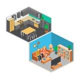 Isometrisk inre av rum i huset Arkivbild