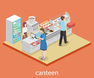Isometrisk inre för lägenhet 3D av en coffee shop eller en kantin Arkivbild