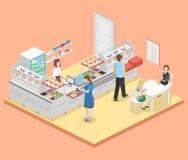 Isometrisk inre för lägenhet 3D av en coffee shop eller en kantin Royaltyfri Foto