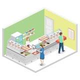 Isometrisk inre för lägenhet 3D av en coffee shop eller en kantin royaltyfri illustrationer