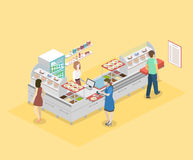 Isometrisk inre för lägenhet 3D av en coffee shop eller en kantin stock illustrationer
