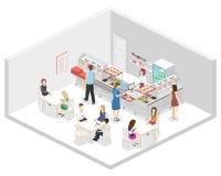 Isometrisk inre för lägenhet 3D av en coffee shop eller en kantin Folket sitter på tabellen och äta stock illustrationer