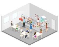 Isometrisk inre för lägenhet 3D av en coffee shop eller en kantin Folket sitter på tabellen och äta royaltyfri illustrationer