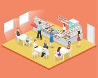 Isometrisk inre för lägenhet 3D av en coffee shop eller en kantin Folket sitter på tabellen och äta Arkivbild