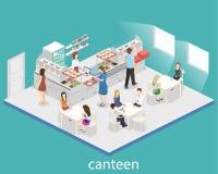 Isometrisk inre för lägenhet 3D av en coffee shop eller en kantin Folket sitter på tabellen och äta Arkivbilder