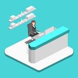 Isometrisk inre för lägenhet 3D av stolpen - kontor vektor illustrationer