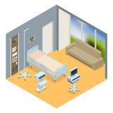 Isometrisk inre för plan illustration för vektor 3D av sjukhusrum Sjukhusrum med sängar och bekväm läkarundersökning Arkivbilder