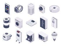 Isometrisk internet av sakerapparater Smart klocka, hushållanordningar och trådlös kontrollerad vektor för mikrovåg 3d stock illustrationer