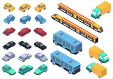 Isometrisk isolerad bil-, buss-, lastbil- och drevuppsättning för vektor stock illustrationer