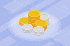 Isometrisk isolerad investeringfinans för guld- mynt Arkivbild