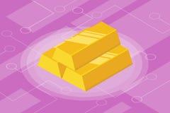 Isometrisk isolerad investeringfinans för guld- stång Arkivfoto