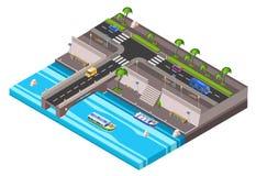 isometrisk körbana för flodstrandinvallningbil Stock Illustrationer