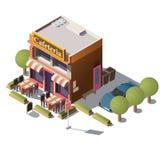 Isometrisk kafeteria för vektor 3d, restaurang med verandan stock illustrationer