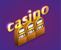 Isometrisk kasino för lägenhet 3D coins dollareuroguld Royaltyfri Bild
