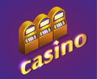 Isometrisk kasino för lägenhet 3D coins dollareuroguld Arkivbild