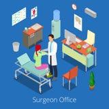 Isometrisk kirurg Office med doktor Examinating Patient stock illustrationer