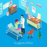 Isometrisk kirurg Office med doktor Examinating Patient royaltyfri illustrationer