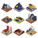 Isometrisk kolbransch med arbetare i min med grävskopan, gruvarbetaren och utrustning royaltyfri illustrationer