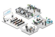 Isometrisk konferenskorridor, kontor, arbetsplatser, direktör av kontorsinre vektor illustrationer