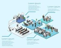Isometrisk konferenskorridor, kontor, arbetsplatser, direktör av kontorsinre Arkivfoton