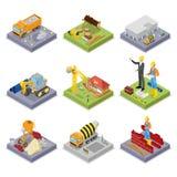 Isometrisk konstruktionsbransch Industriell kran, arbetare, blandare och byggnader royaltyfri illustrationer