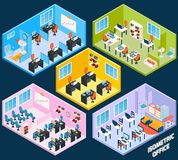 Isometrisk kontorsinre stock illustrationer