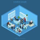 Isometrisk kontorsinre för plan affär 3d stock illustrationer
