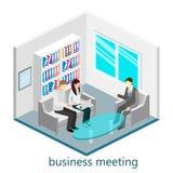 Isometrisk kontorsmötesrum för plan rengöringsduk 3d Arkivfoto