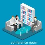 Isometrisk kontorsmötesrum för plan rengöringsduk 3d Arkivfoton