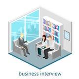 Isometrisk kontorsmötesrum för plan rengöringsduk 3d stock illustrationer