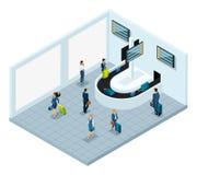 Isometrisk korridor för bagagereklamation efter flyg, internationell flygplats, affärsdamer vektor illustrationer