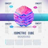 Isometrisk kub för abstrakt begrepp Arkivfoto