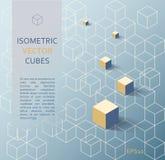 Isometrisk kubbakgrund Fotografering för Bildbyråer