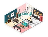Isometrisk lägenhetinrebakgrund Arkivbild