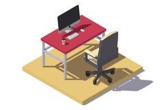Isometrisk låg poly kontorsarbetsplats Arkivbild